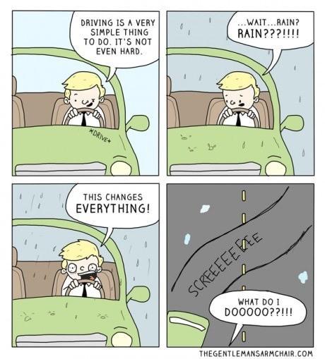 Life Humor Rainy Day Driving Fashionjitsu